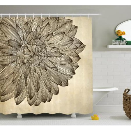 Dahlia Shower Curtain Engraving Style Drawing Of A Big Blossom On Grungy Background Vintage Flower