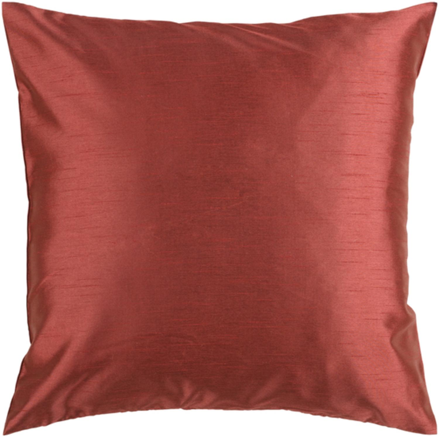 """22"""" Shiny Solid Rusty Red Clay Decorative Throw Pillow"""