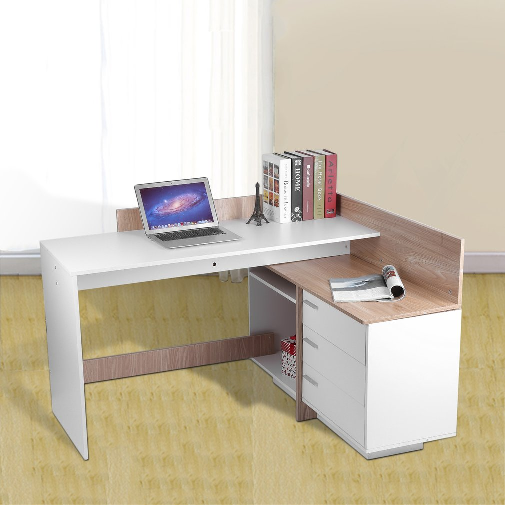 White U0026 Wood Color Stable Computer PC Table Home Study Office Workstation  Table Work Desk Corner