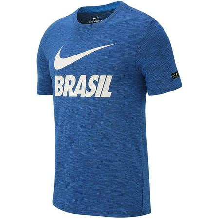 Mens White Brasil Dri-Fit Graphic Print Tee T-Shirt XL