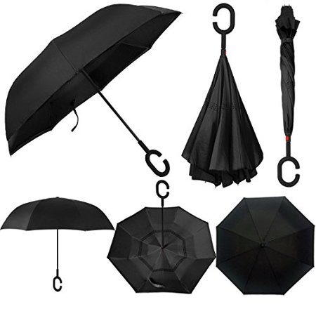 Swisstek Double Layer Reversible Smart Umbrella - Quick Dry Technology - Dual Layer Design - UV Protection Layer - Windproof & Waterproof - Stands On Its Own - Convenient C Grip (Black)](Pink Drink Umbrellas)