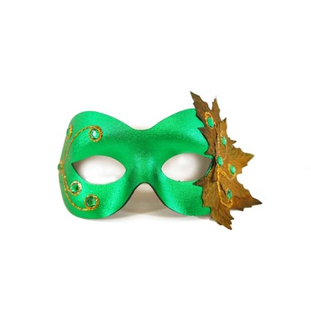 Dark Masquerade Masks (Success Creations Poison Ivy Green and Gold Masquerade Mask for)