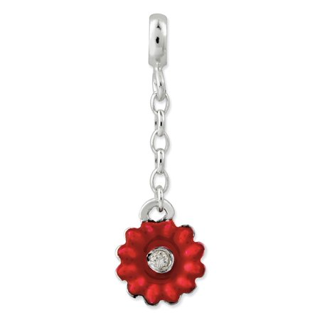 Solid 925 Sterling Silver Red Enameled Flower with CZ Cubic Zirconia 1/2in Dangle Enhancer (8mm x 27mm)