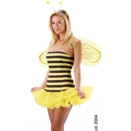 Bumble Bee Strapless Tube Dress Sexy Adult Halloween Costume Naughty Skimpy Queen Bee Outfit + Wings (Naughty Halloween Costume)