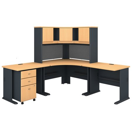 Series A Returns & Bundles 494 Lbs Weight Capacity Engineered Wood 84 W x 84 D Corner Desk & Hutch with 3 Drawer Mobile Pedestal