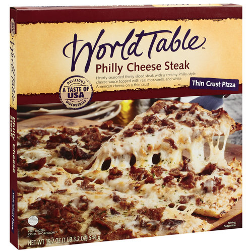 World Table Thin Crust Philly Cheese Steak Pizza, 19.2 oz