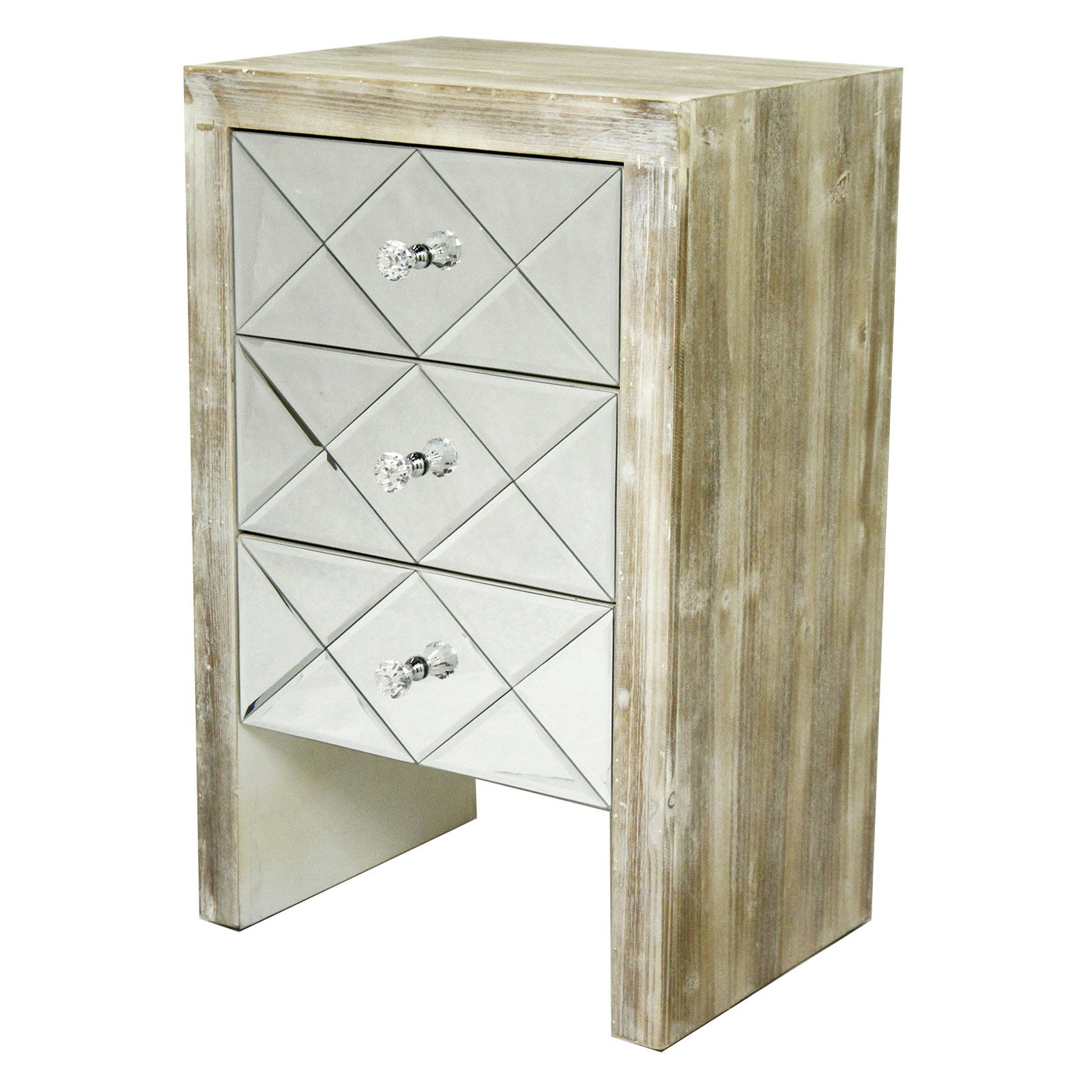Heather Ann Creations Laurel 3 Drawer Mirror Front Accent Cabinet