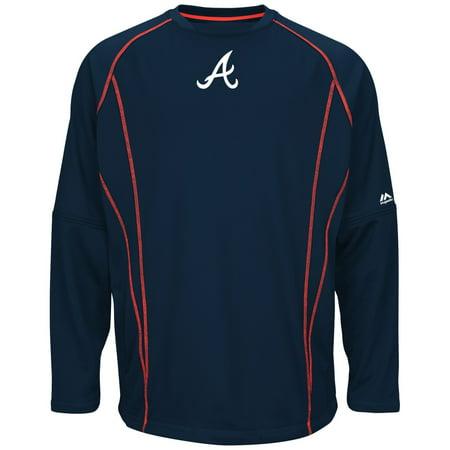 Atlanta Braves Majestic MLB Authentic On-Field Crew Pullover Sweatshirt by