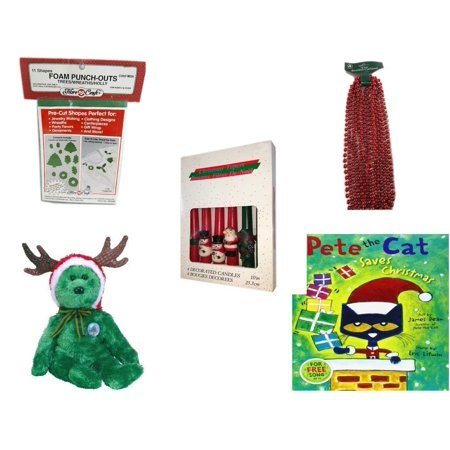 Christmas Fun Gift Bundle [5 Piece] - 11 Shapes Foam Punch-outs Trees/Wreaths/ Holly -  Time Red Beaded Garland 18' Feet -  Decorated 10