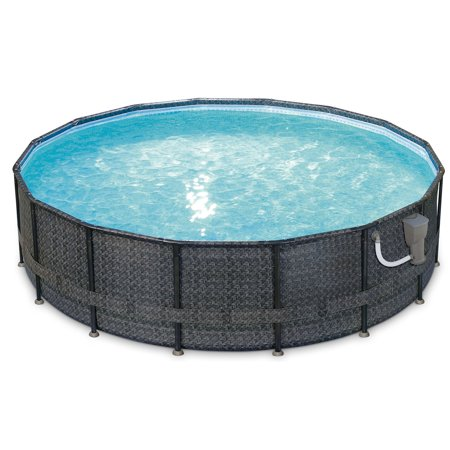 Summer Waves Elite Wicker Print 16ft x 48in Above Ground Frame Pool Set w/  Pump