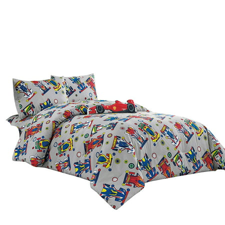 WPM Kids Collection Bedding 4 Piece Sport car Twin Size Comforter Set with Grey Sheet Pillow sham and red Race Car Toy Fun Sports Race Me Design ()