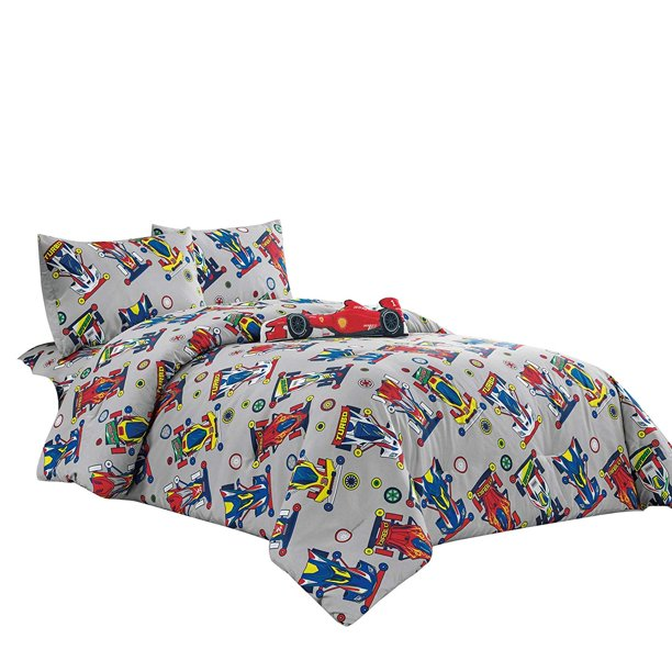WPM Kids Collection Bedding 4 Piece Sport car Twin Size Comforter Set with Grey Sheet Pillow sham and red Race Car Toy Fun Sports Race Me Design