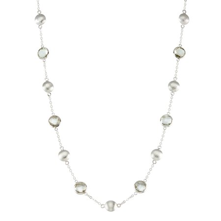 5th & Main Sterling Silver Bead and Bezel Short Necklace with Green Amethyst Round Gemstones (Short Bead Necklaces)