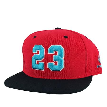 Player Jersey Number #23 Snapback Hat Cap Air Jordan - Red Aqua White (Jordan 5 Low White Fire Red Black)