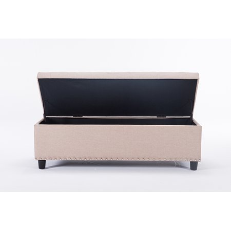 Rectangular Tufted Ottoman - 48 inch Rectangular Storage Linen Ottoman Bench Tufted Footrest Lift Top: Beige Color