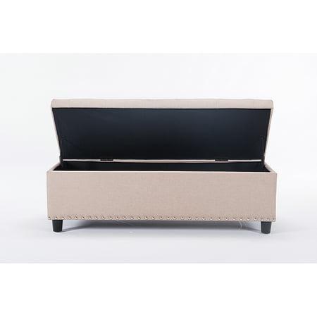 Incredible 48 Inch Rectangular Storage Linen Ottoman Bench Tufted Footrest Lift Top Beige Color Dailytribune Chair Design For Home Dailytribuneorg
