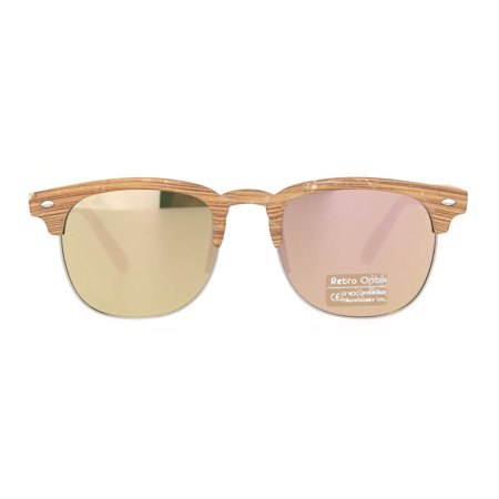 Mens Half Horn Rim Hipster DJ Iconic 80s Sunglasses Brown Silver Peach