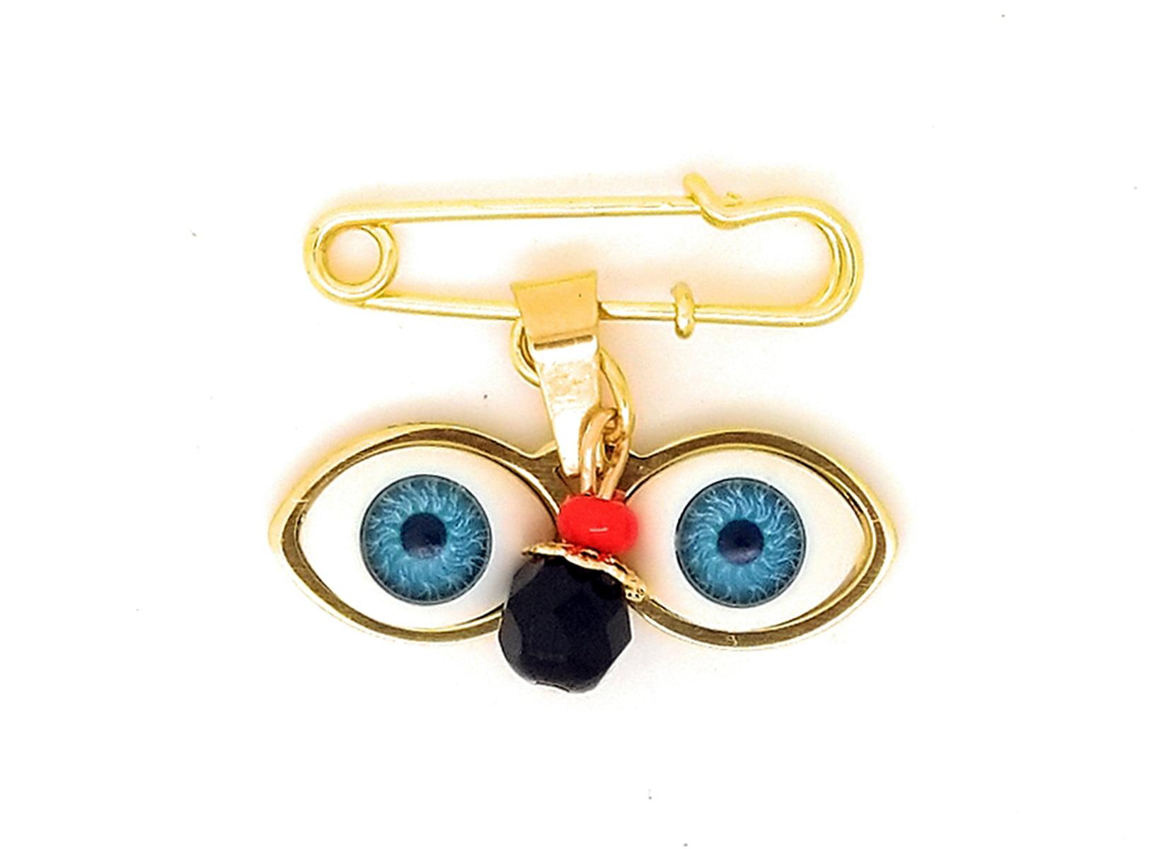 14kt Gold Plated Eyes Saint Lucky Charm Azabache Protection Baby Pin Brooch Ojitos De Santa Lucia Azabache Para... by