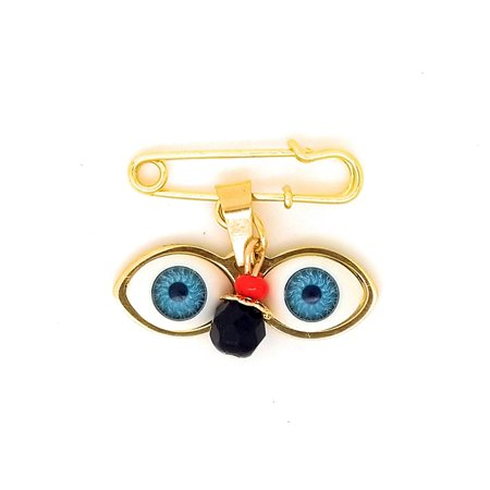 14kt Gold Plated Eyes Saint Lucky Charm Azabache Protection Baby Pin Brooch - Ojitos De Santa Lucia Azabache Para - Freshwater Gold Brooch