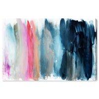 Runway Avenue Abstract Wall Art Canvas Prints 'Parque del Retiro' Paint - Blue, Pink