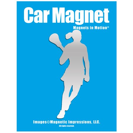 Lacrosse Female Player Pose 2 Car Magnet Chrome (Lacrosse Decorations)