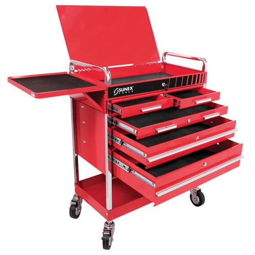 Sunex 8045 Professional 5 Drawer Service Cart w/Locking Top-Red