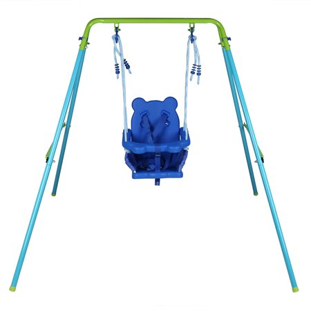 Folding Toddler Blue Secure Swing Set With Safety Seat Portable