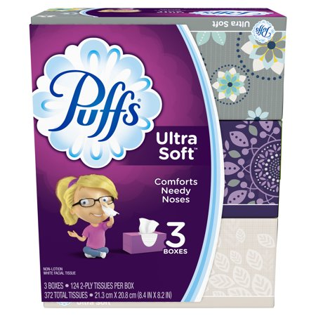 - Puffs Ultra Soft Facial Tissues, 3 Family Boxes, 124 Tissues per Box