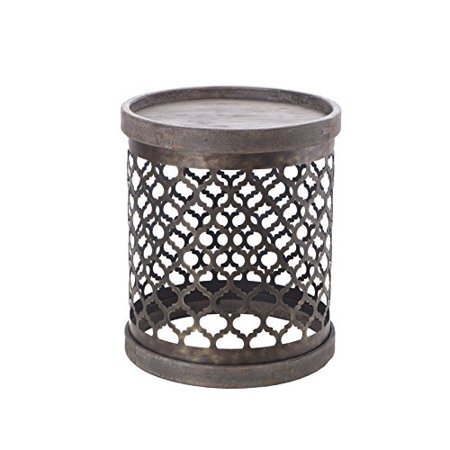 Rustic Round Quatrefoil Metal Chairside Drum Table in Reclaimed Gray Finish - Includes Modhaus Living Pen