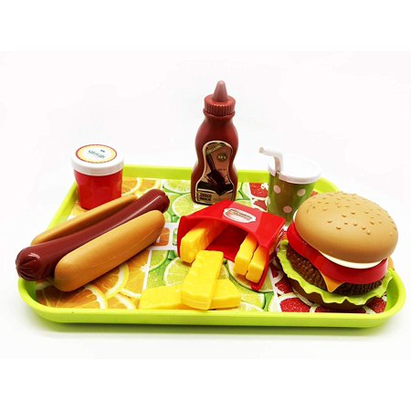 GiftExpress Burger & Hot Dog Fast Food Cooking Play Set for Kids with Hamburger, Fries, Hot Dog, Coke, Ketchup, Milk, Sauce and Tray