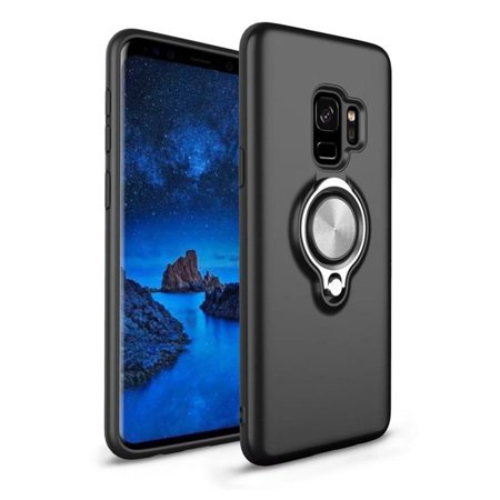 - Samsung Galaxy S9 Ultra Slim Magnet Finger Ring Stand Hybrid Case Cover