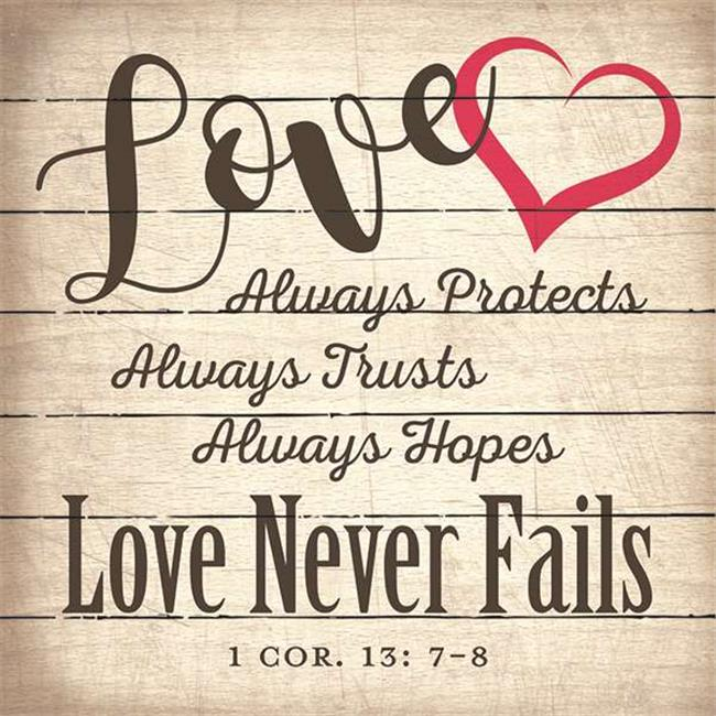 Artistic Reflections LA1039 10.5 x 10.5 in. Love Always Protects Wood Pallet Art Sign