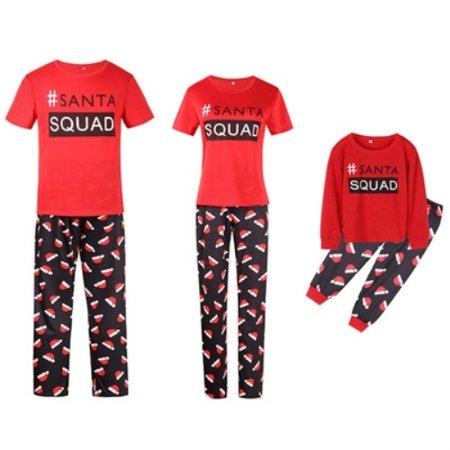 Christmas Family Matching Pajamas Sets SANTA SQUAD Printing Father Mother Kids Sleepwear for $<!---->