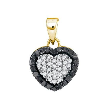 10kt Yellow Gold Womens Round Black Color Enhanced Diamond Small Heart Love Pendant 1/3 Cttw - image 1 de 1