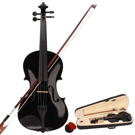 4/4 Full Size Violin, Premium Acoustic Violin, Basswood Violin For Beginner Violinist, Violin Kit String w/ Violin Case, Violin Bow, Violin Rosin, Best Gift for Children Kids, Black,