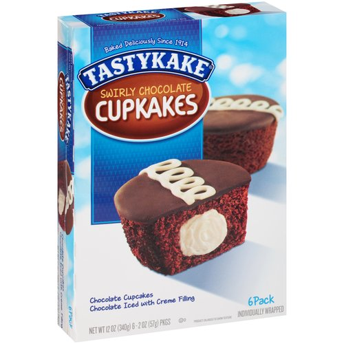 Tastykake Swirly Chocolate Cupkakes, 2 oz, 6 ct