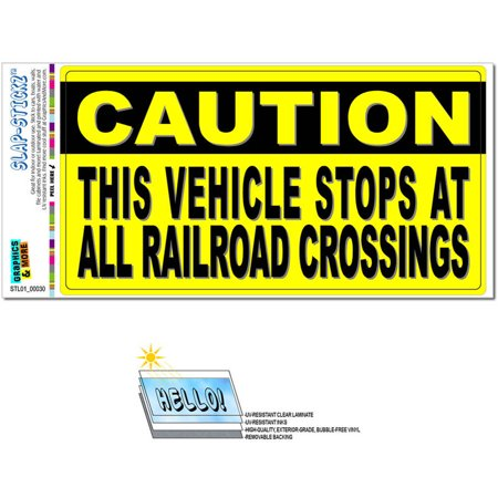 Caution Vehicle Stops at Railroad Crossings Xing Sign Automotive Car Window Locker Bumper Sticker