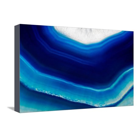 Background of Slice of Blue Agate Crystal Stretched Canvas Print Wall Art By Wlad74