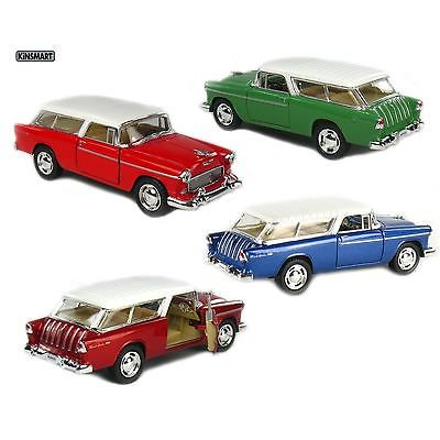 4PC SET Kinsmart 1955 Chevy Nomad 1:40 scale Blue/Green/Metallic Red/Red -