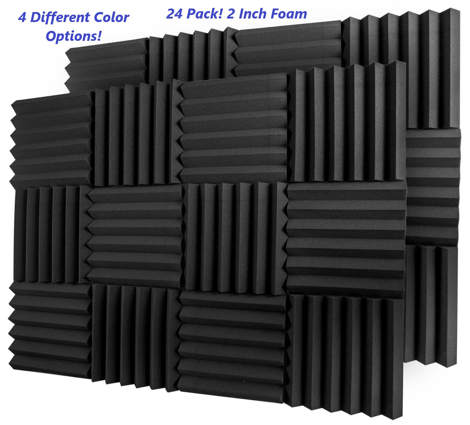 24 Pack Acoustic Foam Tiles Wall Record Studio Sound Proof ...