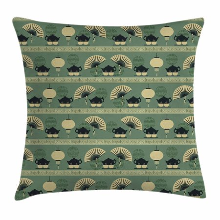 Tea Party Throw Pillow Cushion Cover, Chinese Culture Inspired Tea Time Lantern Teapot and Fan Oriental, Decorative Square Accent Pillow Case, 16 X 16 Inches, Reseda Green Black Cream, by Ambesonne - Oriental Lanterns