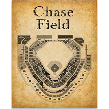 Chase Field Baseball Stadium Seating Chart - 11x14 Unframed Art Print - Great Sports Bar Decor and Gift for Baseball
