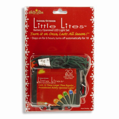 Set of 20 B/O Bright Multi-Color LED Micro Rice Christmas Lights - Green Wire