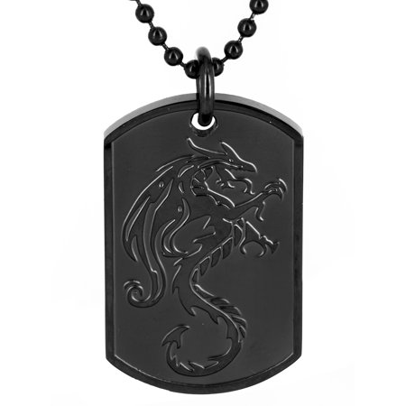 Coastal Jewelry Black Plated Stainless Steel Dragon Dog Tag Pendant