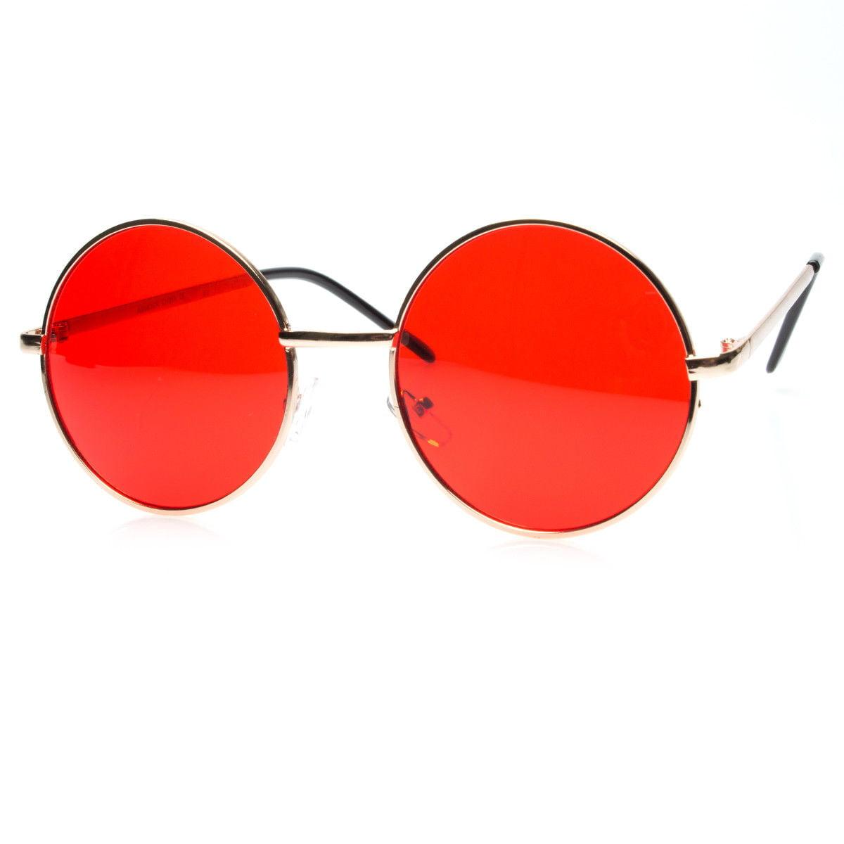 John Lennon Large Sunglasses Round Shades Silver Gold Frame Color Lens Retro New