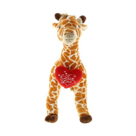 Super Soft Plush Dollibu Wild Large Giraffe I Love You Valentines (Love Giraffes)