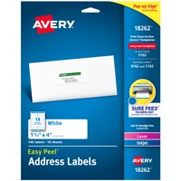 "Avery Address Labels, 1-1/3"" x 4"", Easy Peel, White, 140 Labels (18262)"