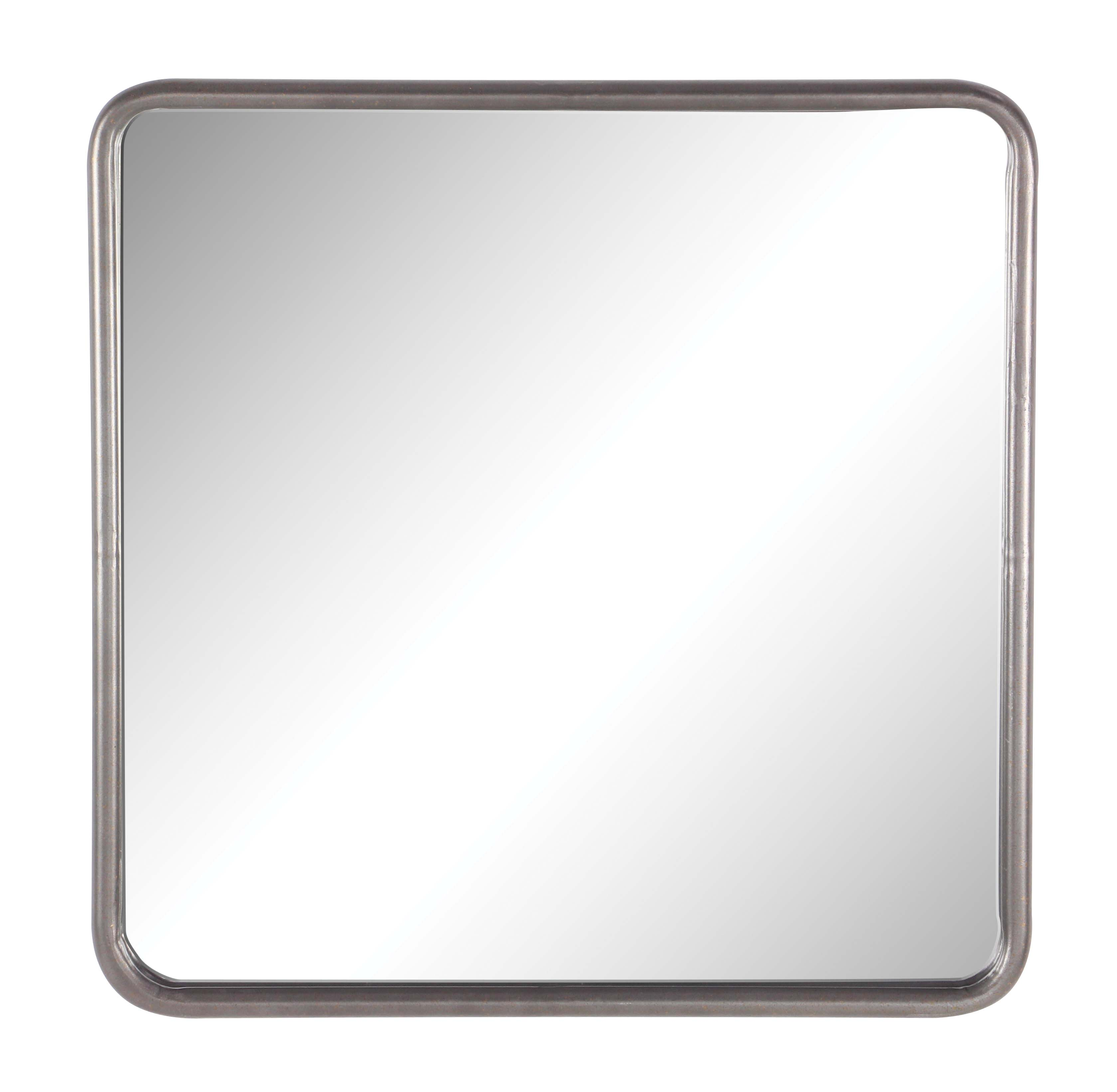 30 x 30 mirror frameless decmode modern 30 inch metal rounded square wall mirror gray
