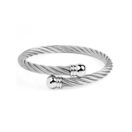 Designer Inspired Cuff Bracelet - Women's Stainless Steel Twist Rope With Knob Ends Cuff Bracelet