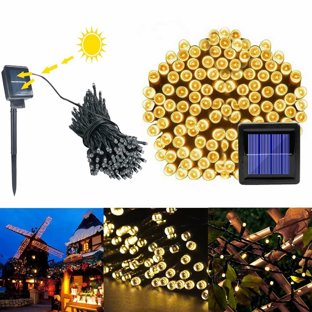 clearance 200 led warm white light outdoor waterproof christmas decoration solar power string. Black Bedroom Furniture Sets. Home Design Ideas